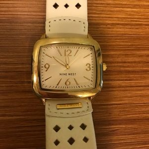 Nine West white leather watch with gold accent